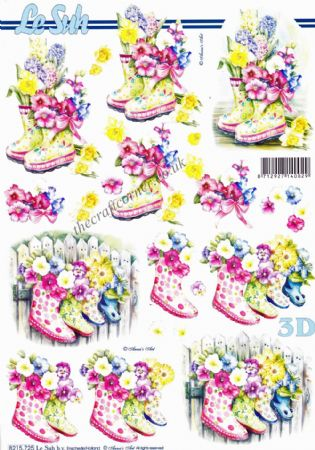Wellington Boots Filled With Flowers 3d Decoupage Sheet By Le Suh